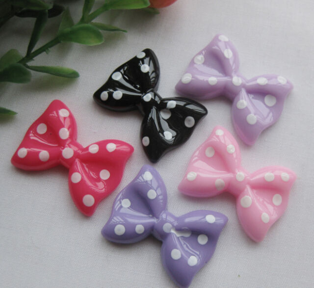 20/100pc Cute Resin Bow Flatback Button DIY Scrapbooking Appliques