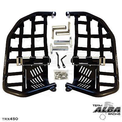 Honda TRX 250R 86-87  Nerf Bars  Pro Peg Heel Gaurd  Alba Racing  Black Red