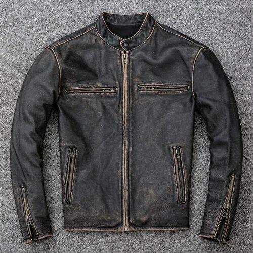 véritable en pour hommescoupe cuir délavé ajustéemotardvintage noir Veste 1c35ulKTFJ
