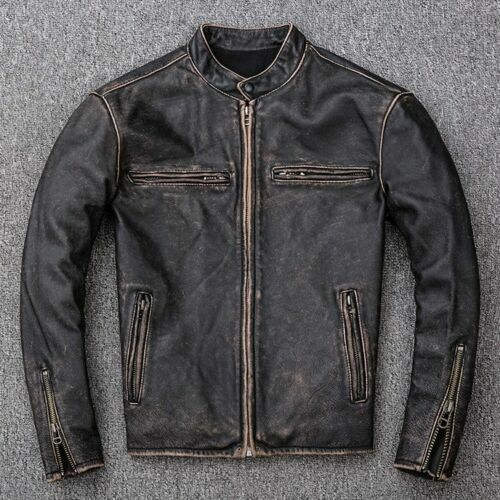 Men Slim Fit Motorcycle Biker Vintage Distressed Black Faded Real Leather Jacket