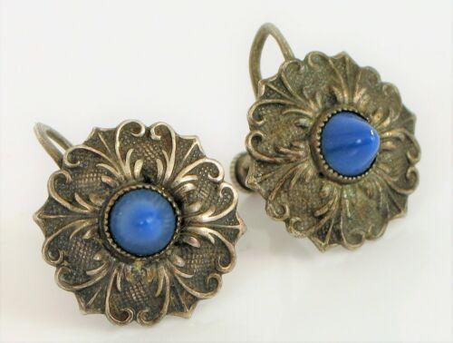 Vintage Pale Blue Gilloche Round Screw Back Earrings Wedding jewelry Bridal Jewlery