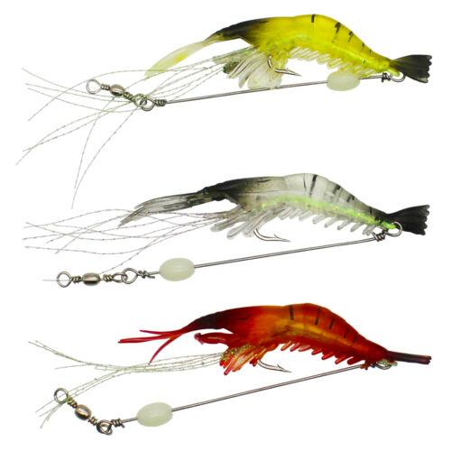 Luminous Shrimp Lure Hook Swivel Soft Fishing Lure Artificial Silicone Bait Lure