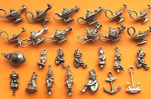 Vintage Sterling Silver Lucky Charms: Aladdin's Lamp Genius, Pixie Lincoln Imp