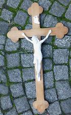 altes Holzkreuz mit Jesus @ Kruzifix INRI @ Holzkorpus Gipsfigur @ 80 cm