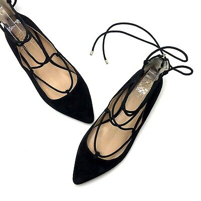 Vince Camuto Hadia Women/'s Leather Pointed Toe D/'Orsay Lace-Up Flats Shoes
