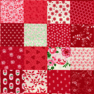Pink Shabby Chic Scrapbook Fabric Red Rose Fabric Vintage Quilting Patchwork