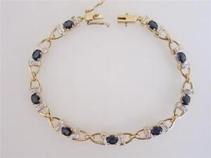 Trendy-14k-Gold-Two-Tone-Ladies-Blue-Sapphire-amp-Diamond-Link-Bracelet-Vintage