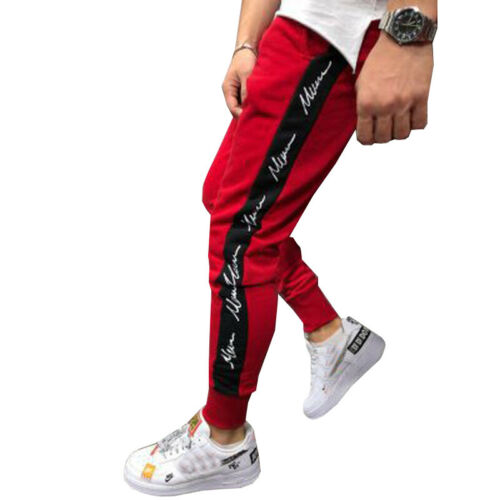 Mens Gym Slim Fitness Trousers Tracksuit Bottoms Skinny Jogger Sweat Wear Pants