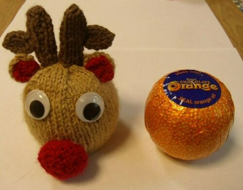 Reindeer Chocolate orange cover knitting pattern AND WOOL FOR  1 COVER r//n