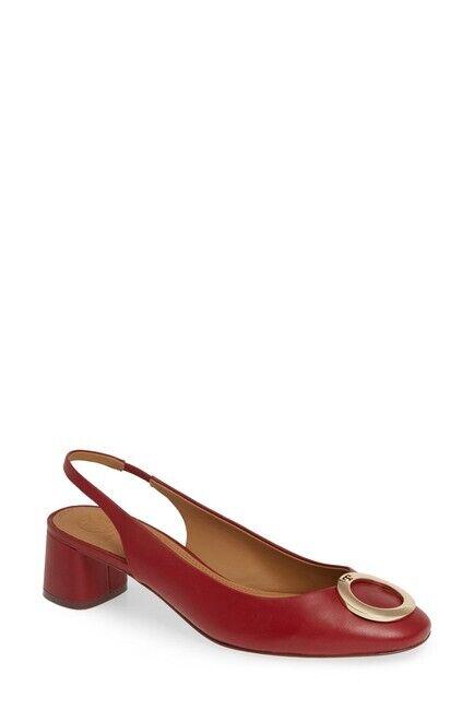 TORY BURCH Caterina 45MM Slingback Heels Dark Redstone size 8.5