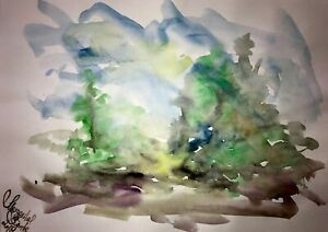 ORIGINAL-Malerei-A3-PAINTING-art-abstrakt-Landschaft-landscape-abstract-aquarell
