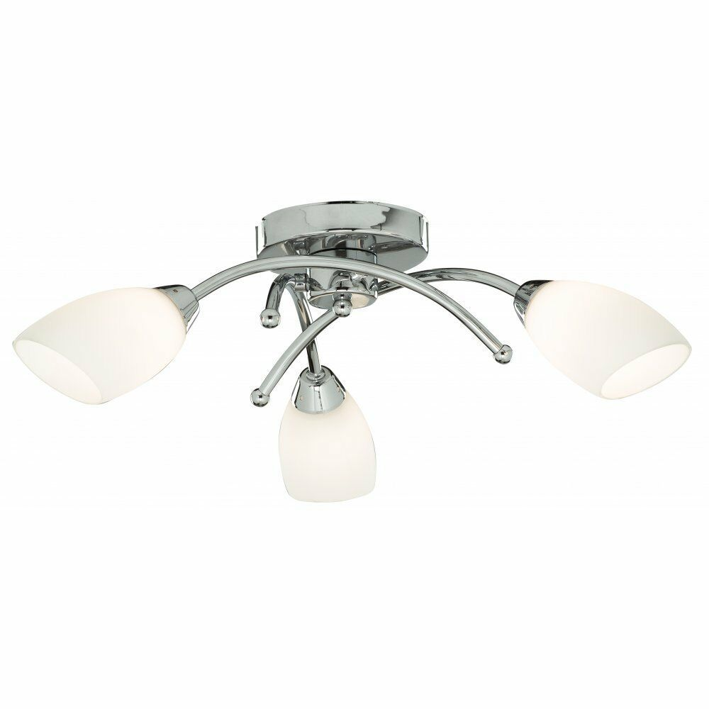 Modern LED 3 Light Ceiling Light Fitting in Polished Chrome with Opal Glass