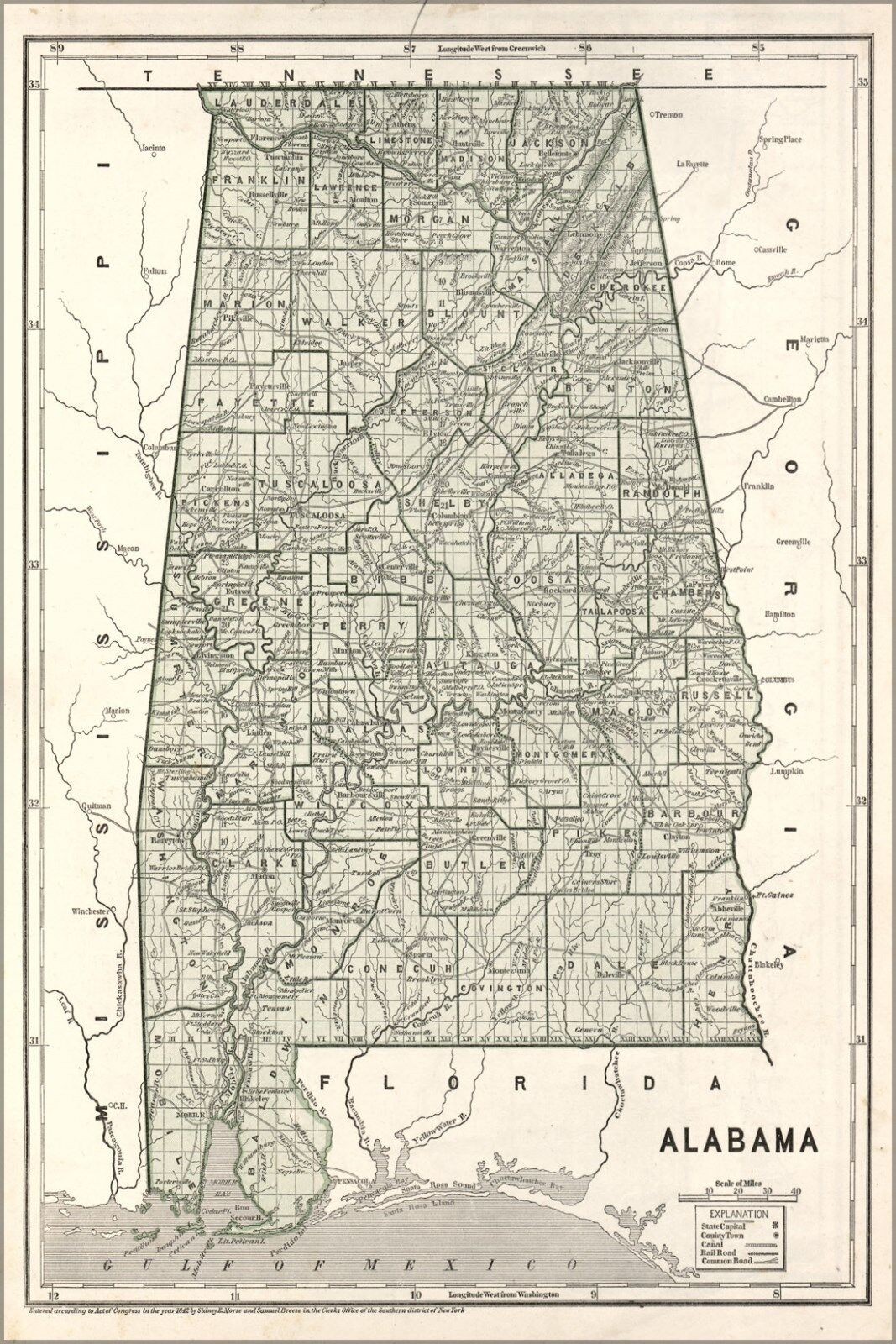 Affiche, Plusieurs Größes; Carte de Alabama 1842