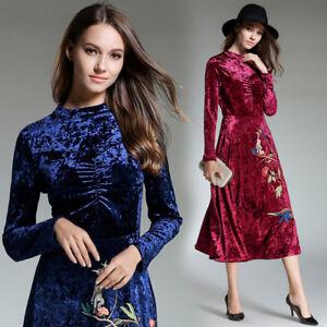 cheap for discount 4e36e 2c51b Dettagli su Elegante vestito abito scampanato velluto blu rosa nero lungo  slim morbido 4826