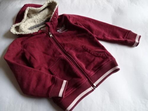 128 Marc /'o POLO bordeauxfarbene Sweatjacke hoodie con Teddy Pelo Tg