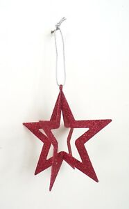 NEW-3-D-Red-Sparkly-Glitter-Star-Holiday-Christmas-Tree-Ornament-Decoration