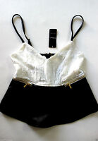 Bebe Ivory Black Lace Back Leatherette Peplum Top Small S