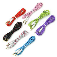 3.5mm Audio Aux Male Stereo Iphone Woven Fabric Braided Cable For Phone Pc Ipod