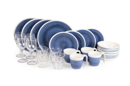 Sesua Melamin-Set Campinggeschirr Azure 24 Teile inkl.4X Wein+4X Wasserglas