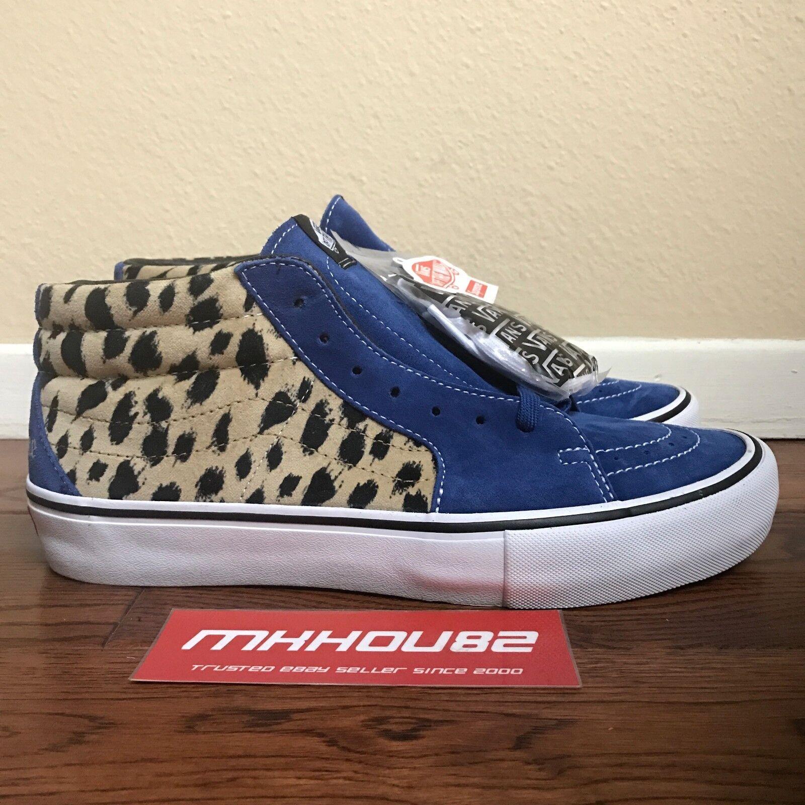 New Supreme Vans Sk8-Mid Pro Velvet Cheetah Leopard Skateboard Shoes Size 10.5