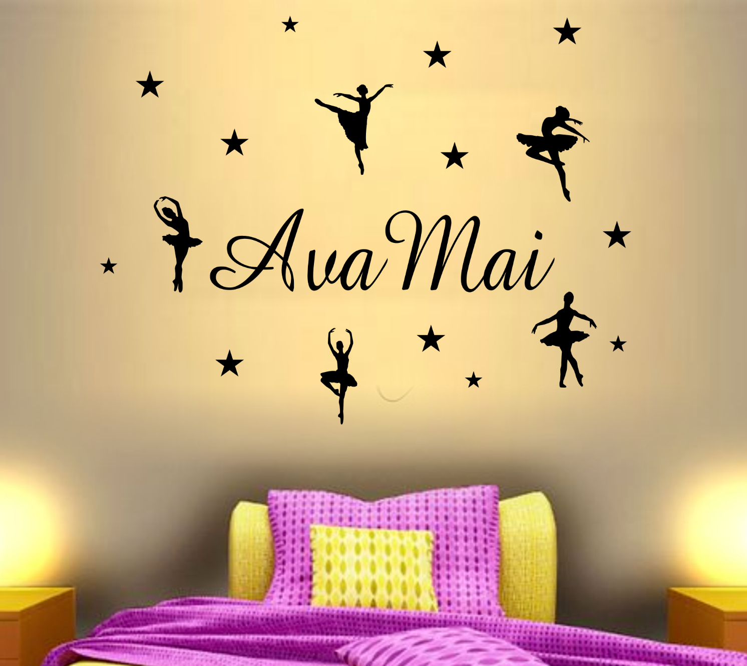 Personnalisé Nom ballerine danseuse Pack Filles Chambre Dance Wall Wall Wall Art Autocollant 2998c3