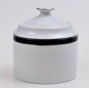 Nikko Fine China Black Tie Patra Covered Sugar Bowl Silver Trim Thailand Ebay
