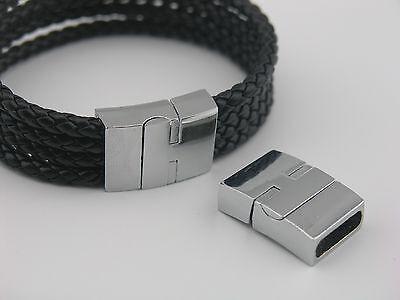3 Sets Lead&Nickel Free Rhodium 17.0x5.0mm Lock Magnetic Clasp For Bracelet