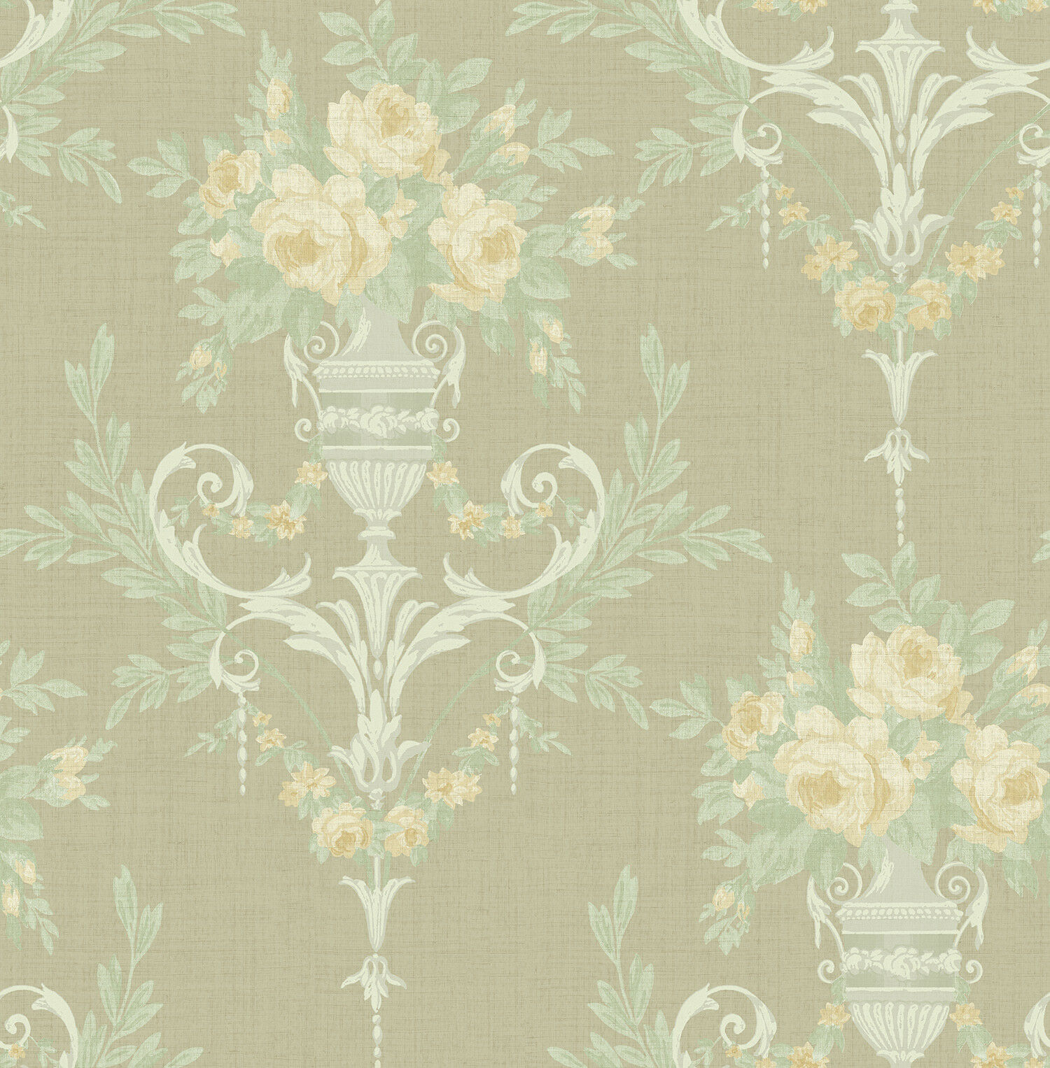 Victorian Floral Damask Wallpaper Silver Pink Green Arts Crafts