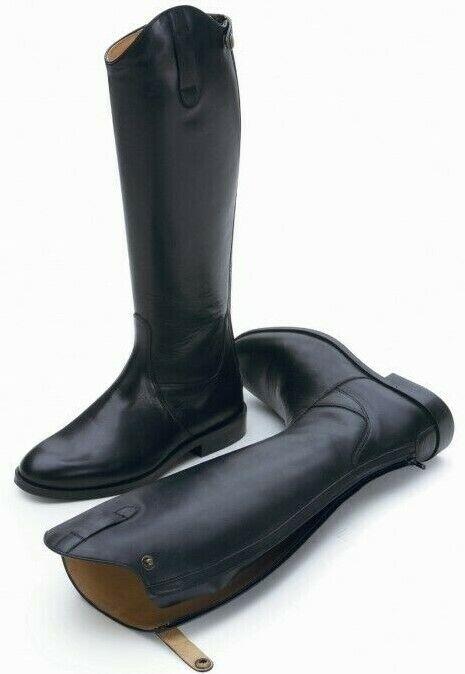 Shires Norfolk Lungo Stivali cavtuttierizza in pelle nera cerniera cerniera cerniera posteriore UK7 REG HT.XL VITELLO 76c