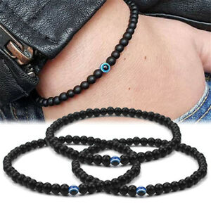 Men Boys Bangle Bracelets Evil eye Polish Stones Beads ...