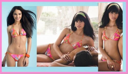 $170 Trina Turk Paradisea Tangerine Triangle Top /& Tie Bottom Swim Bikini Set