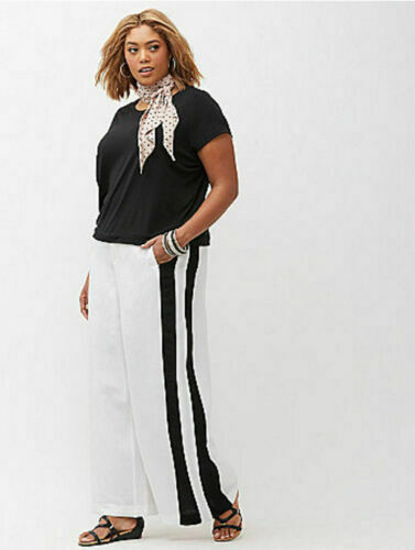 Lane Bryant Womens Sizes 22 24 Wide Leg Trouser Linen Blend Stripe White Pants S