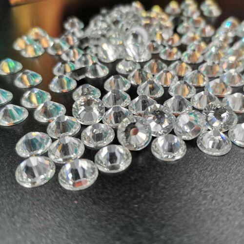 Crystal AB Iron Non Hotfix Rhinestones Flatback White Clear Strass Stones