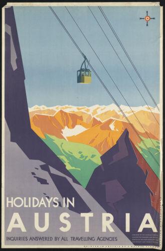Vacances en Autriche Voyage Large Métal Poster GLACOIDE PLAQUE MURALE