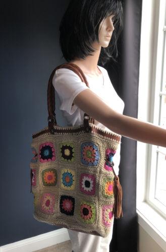 Patricia Nash Crochet Leather Granny Squares Handb