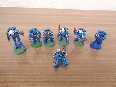Warhammer 40k Space Marines X7 Tactical Squad ? Oop Painted Plastic Lot 10