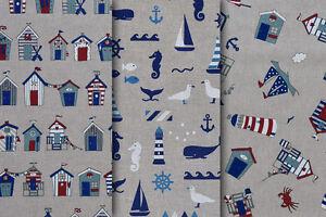 Nautical /& Beach Huts Seaside Curtain Cotton Fabric Quality Upholstery