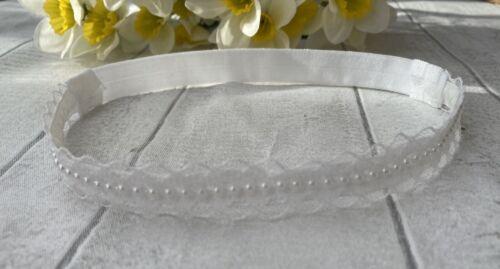 Baby Girl White Christening Headband Baptism Wedding Pearl Lace  Hairband