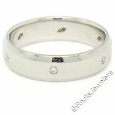 Heavy Men's Jeff Cooper Platinum 0.12ctw Round Diamond 5.8mm Beveled Band Ring