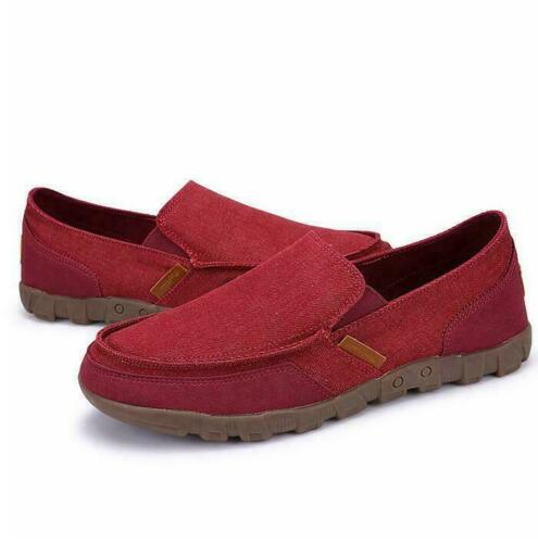 Mens Canvas Driving Casual Loafers Moccasin Breathable Comfy Shoes Slip-On Pumps