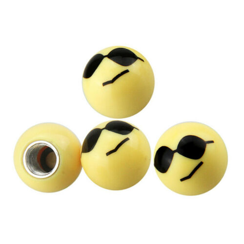 4Pcs Yellow Smiley Happy Bike Car Motor Wheel Tyre Valve Dust Caps Dustcaps