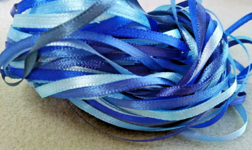 "7 Blues Narrow Ribbon Out of the Blue 1//8/"" Craft Sew Knit 15 metres 3mm"