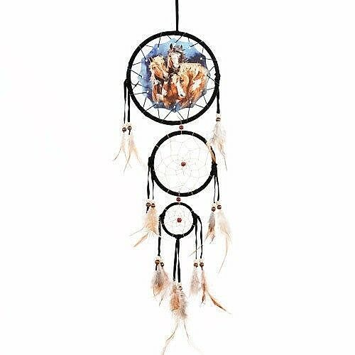 """New 20/"""" Long Horses Equestrian Dream Catcher Wall Hang Decor Feathers Beads Gift"""