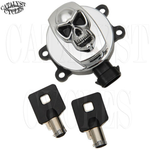 Chrome Skull Ignition Switch for Harley Road King Softail Dyna Ignition 2011-18