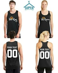 Couple Tank Top King and Queen Matching Couple Shirts His Hers CUSTOMIZED NUMBER