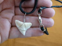 """(S930-53A) 15/16"""" Modern BULL SHARK white tooth silver wired Pendant necklace"""