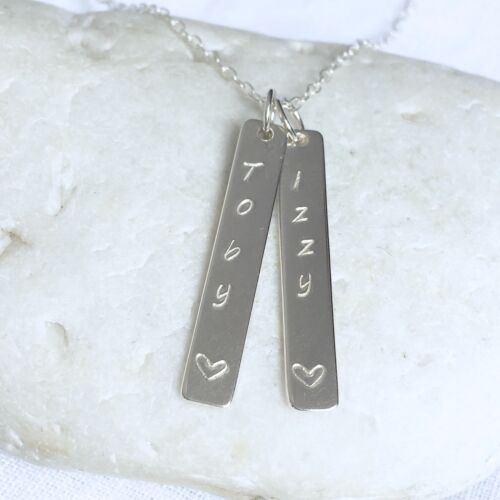 Personalised Silver Necklace Sterling 925 Names Words Bar Pendant Family Mother