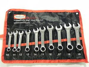 10 mm bis 19 mm CV-Stahl Gabel Ringschlüssel Satz extra kurz 10 tgl