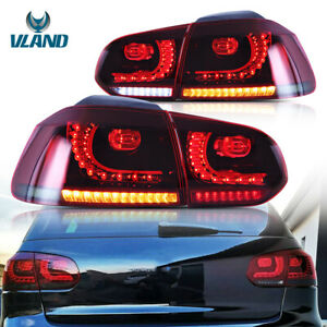Rear Lamp For 08-13 VW Golf MK6 GTI GTD R20 Red Smoked Sequential LED Tail Light