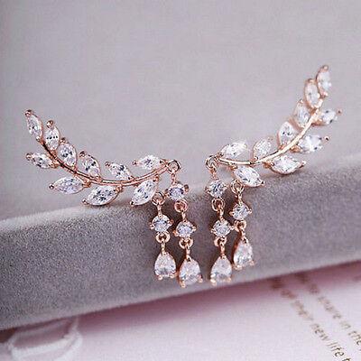 Fashion Women Gold Silver Leaves Tassel Ear Stud Crystal Zircon Earrings Jewelry